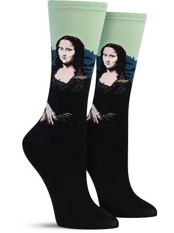 Hot_Sox_Mona_Lisa_Colorful_Art_Sock_Women_Green_IMG_7793_large